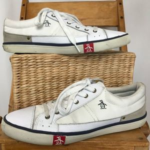 Original Penguin suede and fabric white sneakers